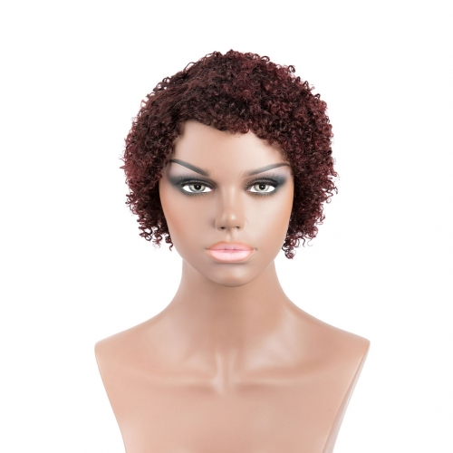 Short African Wigs 100% Human Hair Wigs Evova Machine Made Non Lace Wigs