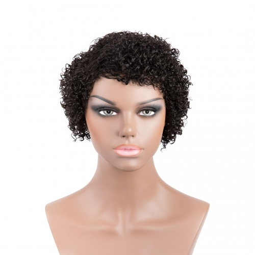 Short Afro Wigs 100% Human Hair Wigs Natural Black Machine Made Non Lace Evova Wigs