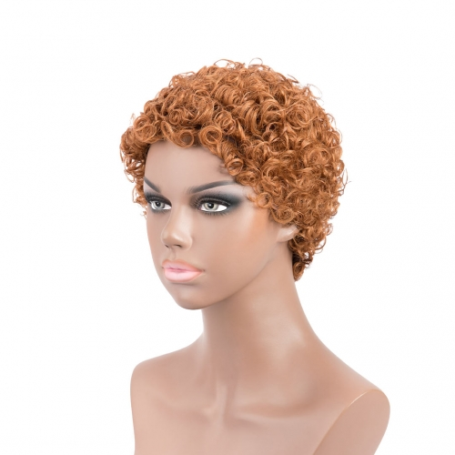 Short Afro Wigs Blonde Human Hair Machine Made Wigs Evova Cheap Wigs