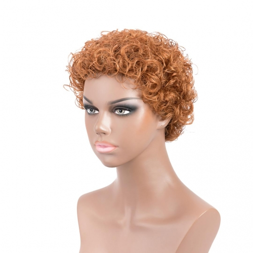 Blonde Human Hair Wigs Short African American Wigs Evova Machine Made Non Lace Wigs